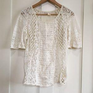 Anthropologie Meadow Rue Crochet Ivory Top